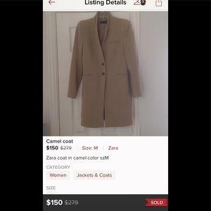 Zara camel coat padded shoulders blazer jacket M